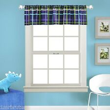 Kas Kids Dino Boy's Room Window Valance Blue Green White Striped Plaid 80X15""