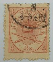 Denmark  #13 4 Skilling Stamp Great Cancel CDS