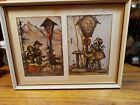 Framed 2 Hummel Original Prints Antique Ready To Hang  8 x10/3.5 x 5.5 authentic