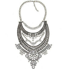 Boho Chain Women Crystal Flower Statement Bib Big Chunky Necklace Collar Jewelry
