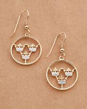 "Swedish Crown Earrings, Hand Cut Sweden Two Ore Coins, 3/4"" in Diameter, # 287E"