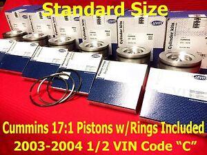 2003-2004.5 Dodge CUMMINS 5.9 L MAHLE PISTONS STANDARD w/Rings VIN C Matched Set