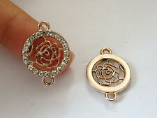 4 rose flower charms pendant connector rhinestone gold tone UK wholesale