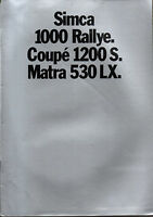 RARE brochure catalogue depliant SIMCA 1000 RALLY 1200S MATRA 530 LX