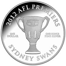 2012 Premiership Collection Sydney Swans - $1 1oz Silver Proof Coin