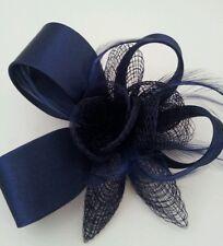 BELLISSIMO Blu Navy Piuma & Flower Design Facinator Nozze/005