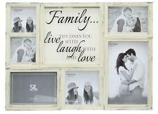 Multi 6 Aperture Printed Glass Slogan Family Photo Picture Collage Frame Cream