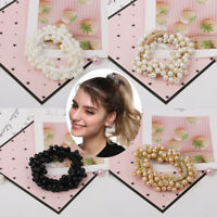 Women Elastic Scrunchie Ponytail Holder Pearl Rope Hair Band Ties Accessories-RO