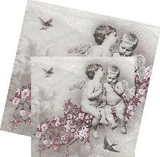 Serviettes en papier Ange Fleurs Decoupage Paper Napkins Angelic Chic