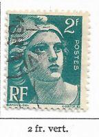 Timbre France Marianne de Gandon 1945-47  Typographiés - N° 713 - 2 Fr vert