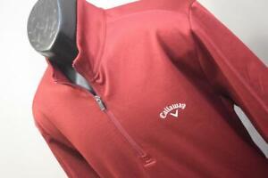 Callaway Golf Jacket Fleece Zip Neck Dark Red Athletic Mens Size Large