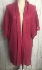 Chicos Ladies L XL Pink Cotton Knit Shawl with Sleeves Shorter in back