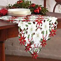 Christmas Tablecloth Pattern Hollow Embroidery Fabric Xmas Room Decoration UK