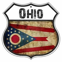 Ohio Country Flag Novelty Highway Shield Man Cave Aluminum Metal Sign