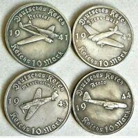 1941/44 WW2 SET OF 4 GERMAN A. HITLER COLLECTOR COINS 10 REICHSMARK AIR SERIES
