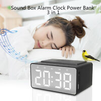 3 in 1 Bluetooth 5.0 Speaker Wireless Phone Charger LED Clock Radio Music Player