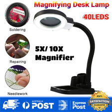 40 LED Magnifying Crafts Glass Desk Lamp With 5x 10x Magnifier Lighting Stand AU
