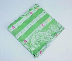 Lord R Colton Masterworks Pocket Square - Sannibel Green Stripe Silk - New