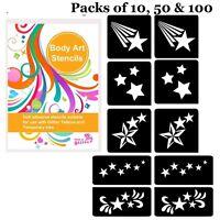 STARS themed GLITTER TATTOO STENCIL PACK for Glitter Body Art and Ink Tattoos