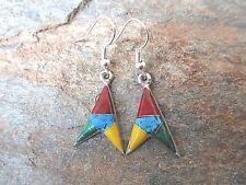 Stone Inlaid Earrings Artesanas Campesinas (Artcamp) Mexico Fair Trade NEW e2090