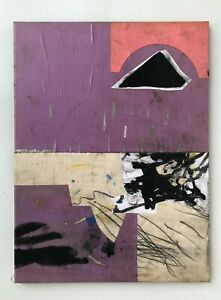 FROM HERE TO WHERE Purple Black Collage Painting - Steven Tannenbaum Tao-E