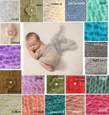 ** Mohair & Wool stretch knit wrap newborn photo prop baby blanket  Hand Knit