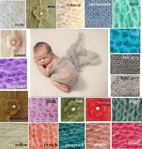 ** Mohair & Wool stretch knit wrap newborn photo prop baby blanket  Hand Knit