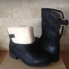 UGG Aldon Black Leather Sheepskin Cuff Ankle Short Boots Size US 12 Womens