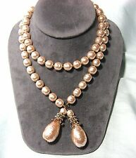 "MIRIAM HASKELL Bola Necklace w Costume Pearl / Rhinestones 34"" long"