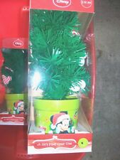 "Disney Mickey Mouse Fiber Optic Christmas Tree Changing Color Tips 18"" LAST 1"