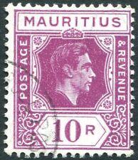 MAURITIUS-1943 10r Reddish Purple (Ordinary Paper) Sg 263a FINE USED V28938