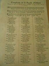 Complainte de la Pucelle d'Orléans composée en 1876 Print 1929