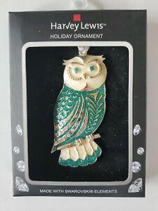 Christmas Ornament Decoration Owl  NEW Stunning Made w Swarovski Harvey Lewis
