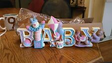 Homeco Home Interiors Baby Nursery Wall Plaque  B A B Y    NEW IN BOX