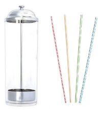 "Straw Dispenser with 250 Striped Straight 8"" Straws | Vintage Plastic Dispenser"