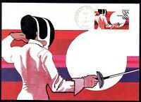 US C109 Womens Fencing 1983 USPS Airmail Maxi Card FDC FC109-1mx