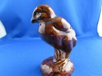 Vintage mid century brown drip glaze bird figurine