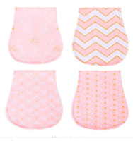 4 Pack Girls Large Soft Double Layer Cotton Burp Cloths with FREE Teether