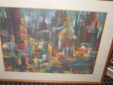 Artist, Emilie Atlee, modernist 50's Pastel, titled, Sunday Night