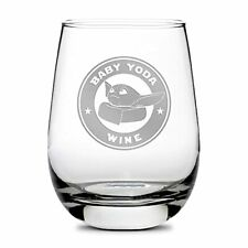 New listing Premium Baby Yoda Stemless Wine Glass - Hand-Etched, Sand-Carved Drinking Glass