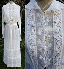 Vintage Antique Victorian Edwardian Tea Dress Embroidered Irish Lace Crochet
