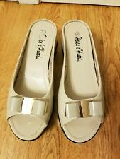 Helen's Heart Women's Clogs Beige Leather Wedge Heel Slide Sandals Size 9