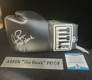 "AARON ""The Hawk"" PRYOR SIGNED TTITLE 10oz BLACK BOXING GLOVE Beckett & JSA COA"