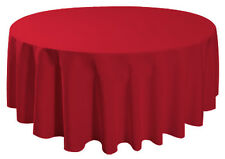 "90"" Round Table Cover Seamless Wedding Banquet Tablecloth - RED"