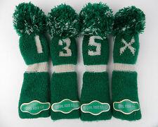 Set 4 VIntage Green Pom Pom Knit Golf Head Covers 1, 3, 5, X Quail Ridge