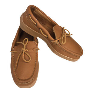 Minnetonka Mens 7 Brown Leather Moccasin Slippers Casual Shoe