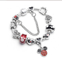 ARMBAND BETTELARMBAND 17 CM MICKEY MOUSE SCHLOSS CHARMS ARMKETTE SCHMUCK DAMEN