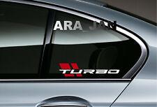 TURBO Decal Sticker Sport car racing stripe window emblem logo motorsport PAIR