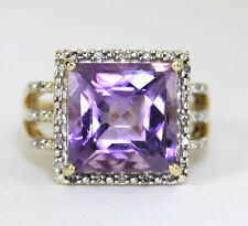 Diamante anillo de amatista 14K oro amarillo .15CT redondos 6,90 CT fantasía