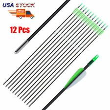 12PCS 30'' Arrows Hunting Archery Fiberglass For Recuve&Compound Bow Nock Proof